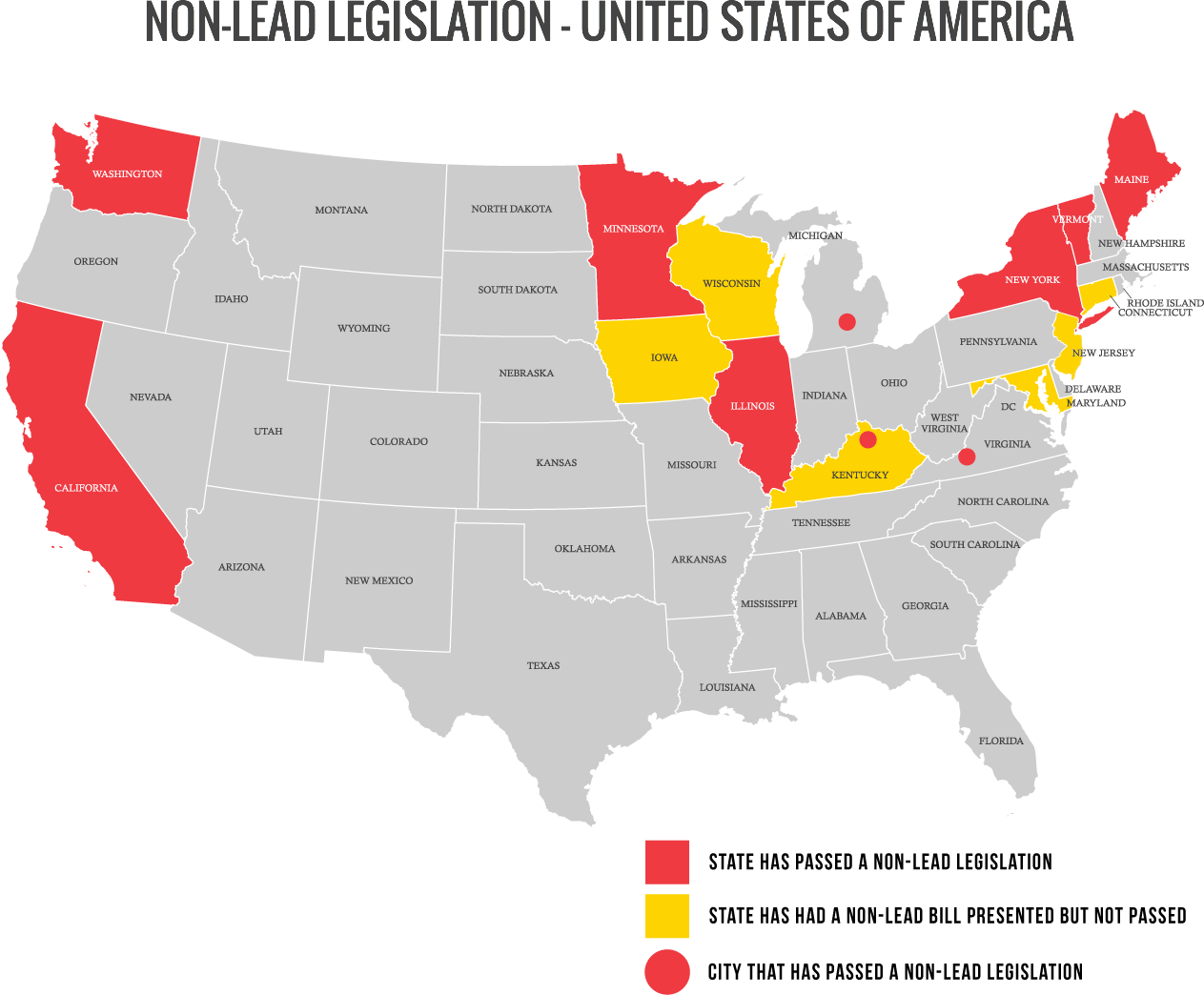non-lead-map + NON-LEAD LEGISLATION